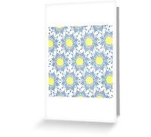 Boho blue henna mandala yellow sun pattern Greeting Card