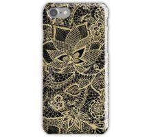 Elegant gold black hand drawn floral lace pattern iPhone Case/Skin
