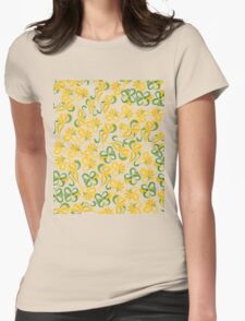 Green Yellow Flowers Womens Fitted T-Shirt