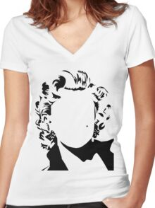 Marilyn - vacant expression Women's Fitted V-Neck T-Shirt