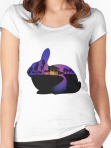 Sunset  Rabbit  Women's Fitted Scoop T-Shirt