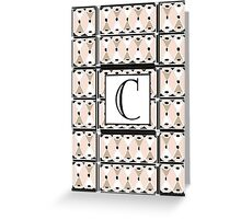 1920s Pink Champagne Deco Monogram letter C Greeting Card