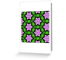 Pattern 73: Green background with purple shapes Greeting Card