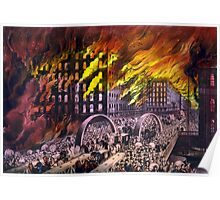 Chicago in flames - Scene at Randolph Street Bridge - 1874 - Currier & Ives Poster