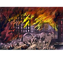 Chicago in flames - Scene at Randolph Street Bridge - 1874 - Currier & Ives Photographic Print