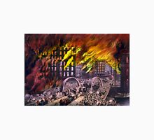 Chicago in flames - Scene at Randolph Street Bridge - 1874 - Currier & Ives Unisex T-Shirt