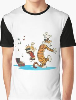 calvin and hobbes dancing with music Graphic T-Shirt