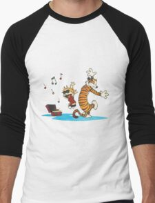 calvin and hobbes dancing with music Men's Baseball ¾ T-Shirt