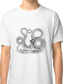 Vintage Boa Constrictor Snake Skeleton Illustration Retro 1800s Black and White Snakes  Classic T-Shirt