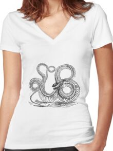 Vintage Boa Constrictor Snake Skeleton Illustration Retro 1800s Black and White Snakes  Women's Fitted V-Neck T-Shirt