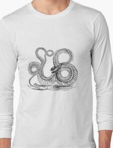 Vintage Boa Constrictor Snake Skeleton Illustration Retro 1800s Black and White Snakes  Long Sleeve T-Shirt