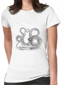 Vintage Boa Constrictor Snake Skeleton Illustration Retro 1800s Black and White Snakes  Womens Fitted T-Shirt