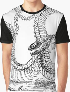 Vintage Boa Constrictor Snake Skeleton Illustration Retro 1800s Black and White Snakes  Graphic T-Shirt
