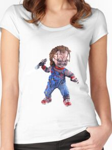 chucky, doll, hell, evil, horror, chukky, chuky,  Women's Fitted Scoop T-Shirt