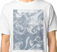 Shiori - spilled ink abstract water wave pantone blue marble grey monochromatic map nature ocean Classic T-Shirt