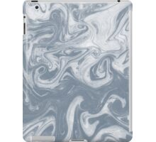 Shiori - spilled ink abstract water wave pantone blue marble grey monochromatic map nature ocean iPad Case/Skin