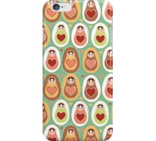 Russian dolls matryoshka mint pink brown. iPhone Case/Skin
