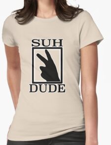 SUH DUDE BLACK Womens Fitted T-Shirt