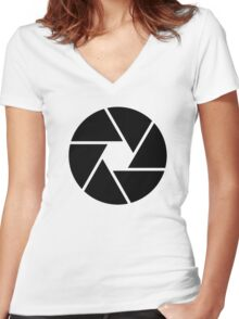 Photographer Photography Lens Women's Fitted V-Neck T-Shirt