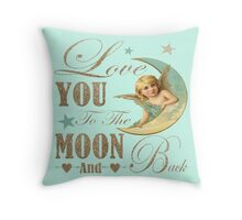 Angel moon typography love you to the moon and back Throw Pillow