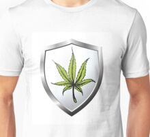 button or icon with marijuana leaf Unisex T-Shirt