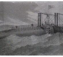 Bizarre Victorian Steampunk like cigar ship Sticker