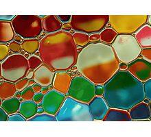 multi-colour oil bubbles on water Photographic Print