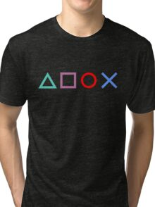 Gamer Pattern Black Tri-blend T-Shirt