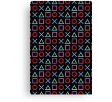 Gamer Pattern Black Canvas Print