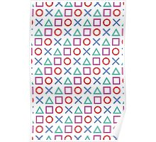Gamer Pattern White Poster