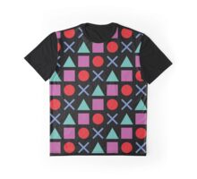 Gamer Pattern Solid Black Graphic T-Shirt