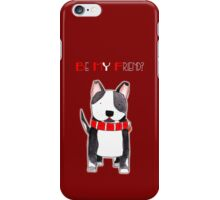 Be My Friend? - Black and White Dog with Big Red Collar iPhone Case/Skin