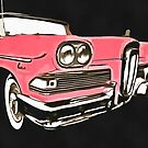 Pink Ford Edsel Painting by Edward Fielding