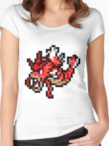Pokemon 8-Bit Pixel Red Gyarados 130 Women's Fitted Scoop T-Shirt