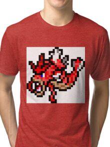 Pokemon 8-Bit Pixel Red Gyarados 130 Tri-blend T-Shirt