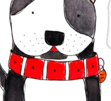 Be My Friend? - Black and White Dog with Big Red Collar Sticker
