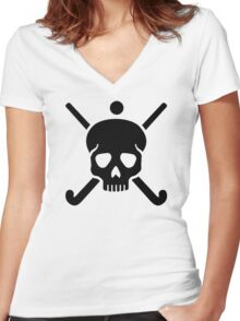 Field hockey skull Women's Fitted V-Neck T-Shirt