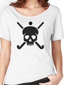 Field hockey skull Women's Relaxed Fit T-Shirt
