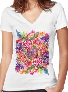 Watercolor Garden III Women's Fitted V-Neck T-Shirt