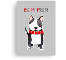 Be My Friend? - Black and White Dog with Big Red Collar Canvas Print