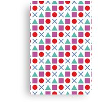 Gamer Pattern Solid White Canvas Print