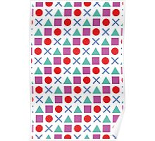 Gamer Pattern Solid White Poster