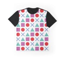Gamer Pattern Solid White Graphic T-Shirt