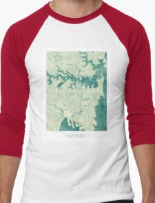 Sydney Map Blue Vintage Men's Baseball ¾ T-Shirt