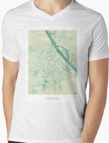 Vienna Map Blue Vintage Mens V-Neck T-Shirt
