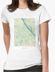 Vienna Map Blue Vintage Womens Fitted T-Shirt