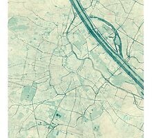 Vienna Map Blue Vintage by HubertRoguski