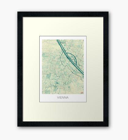 Vienna Map Blue Vintage Framed Print