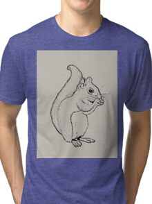 Squirrel Eating: Line Drawing of Cute Squirrel Tri-blend T-Shirt