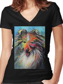 Boho Sheltie Women's Fitted V-Neck T-Shirt
